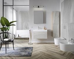 Inverto - Duża biała szara łazienka jako domowe spa z oknem, styl skandynawski - zdjęcie od Cersanit - Homebook