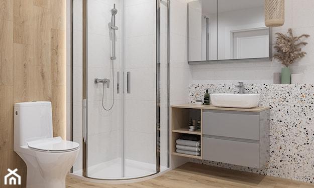 nowoczesna łazienka, szaro-drewniana łazienka