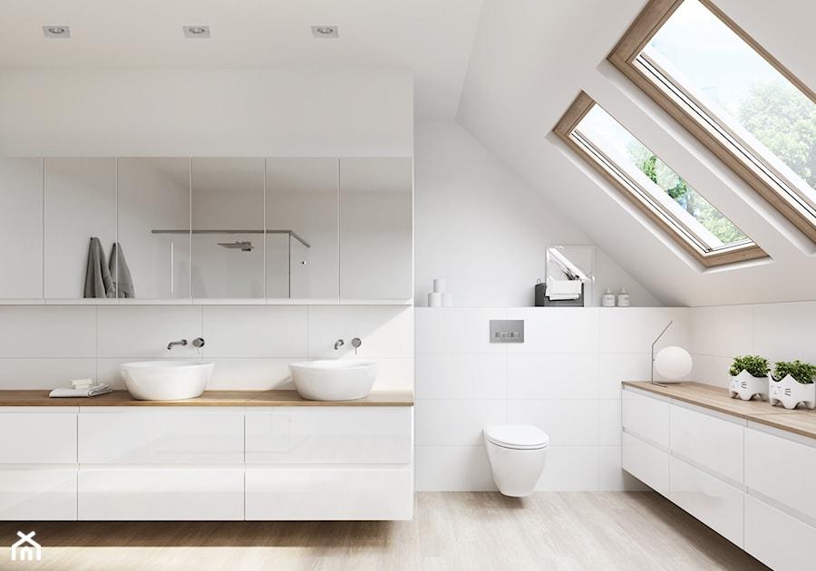Aranżacje wnętrz - Łazienka: Kolekcja MODUO - Średnia biała łazienka na poddaszu w domu jednorodzinnym z oknem, styl skandynawski - Cersanit. Przeglądaj, dodawaj i zapisuj najlepsze zdjęcia, pomysły i inspiracje designerskie. W bazie mamy już prawie milion fotografii!