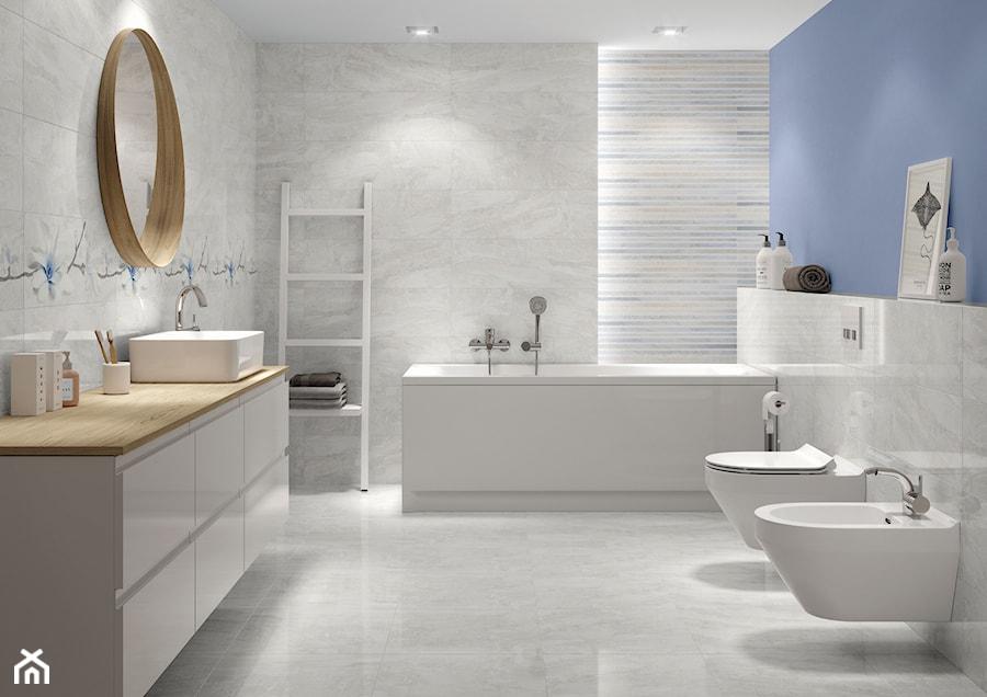 Stone Flowers średnia Niebieska łazienka W Bloku W Domu