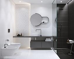 1502ea3b22343 Good Look - Średnia czarna szara łazienka w bloku w domu jednorodzinnym bez  okna, styl