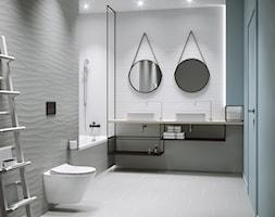4c30a22604045 Touch Me - Średnia biała szara łazienka w bloku w domu jednorodzinnym bez  okna, styl