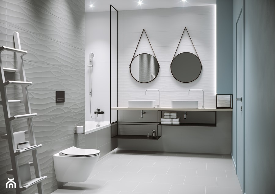Touch Me - Średnia biała szara łazienka w bloku w domu jednorodzinnym bez okna, styl eklektyczny - zdjęcie od Cersanit