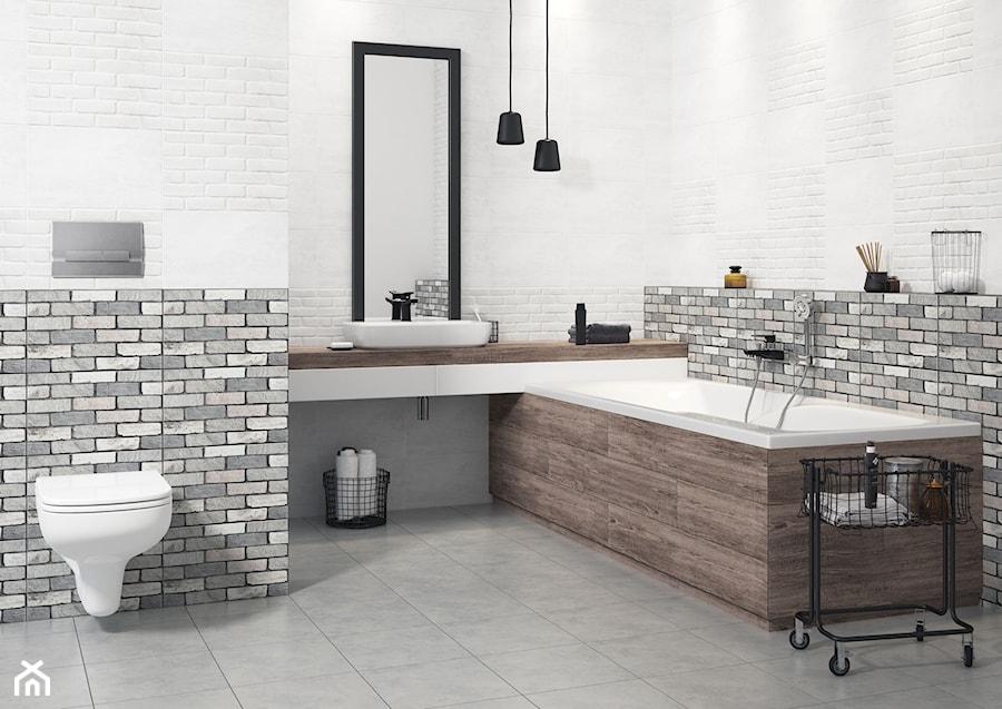 Inspiracje łazienki średnia Biała Szara łazienka Bez Okna
