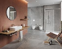 City - Duża szara łazienka w domu jednorodzinnym z oknem, styl rustykalny - zdjęcie od Cersanit - Homebook