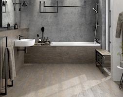 Finwood - Średnia biała szara łazienka jako domowe spa z oknem, styl industrialny - zdjęcie od Cersanit