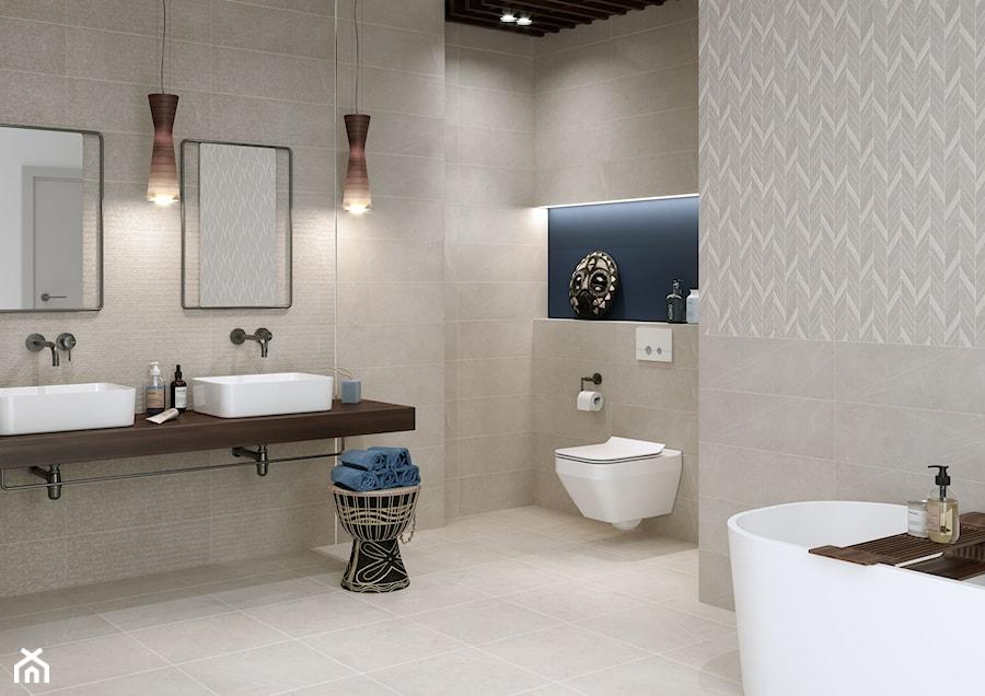 Manzilla - Średnia beżowa niebieska łazienka bez okna, styl eklektyczny - zdjęcie od Cersanit