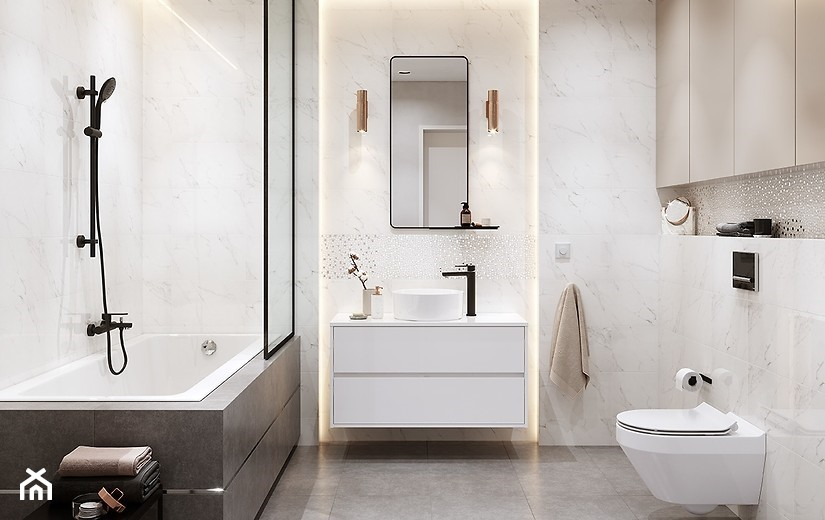 Cala średnia Beżowa łazienka W Bloku W Domu Jednorodzinnym