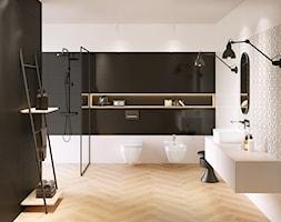 Pret-a-porter - Średnia biała czarna łazienka w bloku w domu jednorodzinnym bez okna, styl eklektyc ... - zdjęcie od Cersanit - Homebook