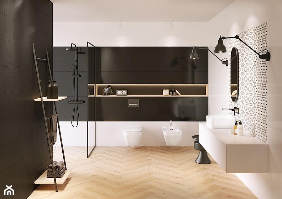 Pret-a-porter - Średnia biała czarna łazienka w bloku w domu jednorodzinnym bez okna, styl eklektyczny - zdjęcie od Cersanit