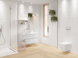 Soft Romantic - Średnia biała łazienka w bloku w domu jednorodzinnym z oknem, styl skandynawski - zdjęcie od Cersanit