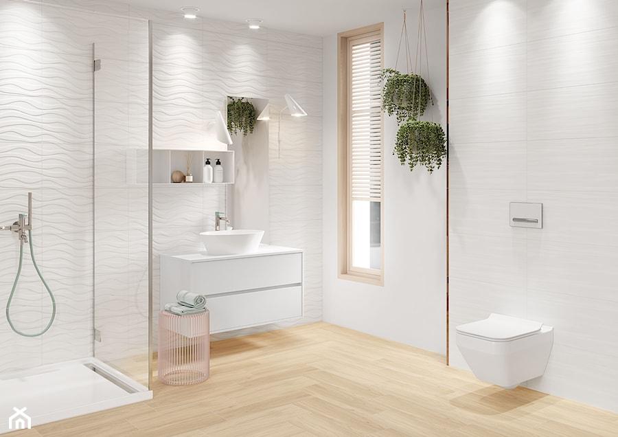 Aranżacje wnętrz - Łazienka: Soft Romantic - Średnia biała łazienka w bloku w domu jednorodzinnym z oknem, styl skandynawski - Cersanit. Przeglądaj, dodawaj i zapisuj najlepsze zdjęcia, pomysły i inspiracje designerskie. W bazie mamy już prawie milion fotografii!