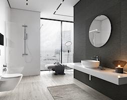Mille - Duża biała czarna łazienka z oknem, styl nowoczesny - zdjęcie od Cersanit - Homebook