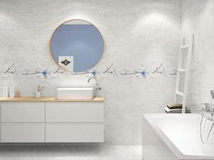 Stone Flowers - Średnia niebieska łazienka w bloku w domu jednorodzinnym bez okna, styl eklektyczny - zdjęcie od Cersanit