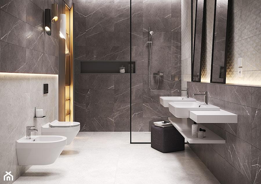 Aranżacje wnętrz - Łazienka: Stone Paradise - Średnia łazienka w bloku w domu jednorodzinnym bez okna, styl eklektyczny - Cersanit. Przeglądaj, dodawaj i zapisuj najlepsze zdjęcia, pomysły i inspiracje designerskie. W bazie mamy już prawie milion fotografii!