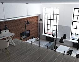 Loft 170 m2 - Berlin - Duży biały salon z jadalnią z antresolą, styl industrialny - zdjęcie od WhitePlanepl