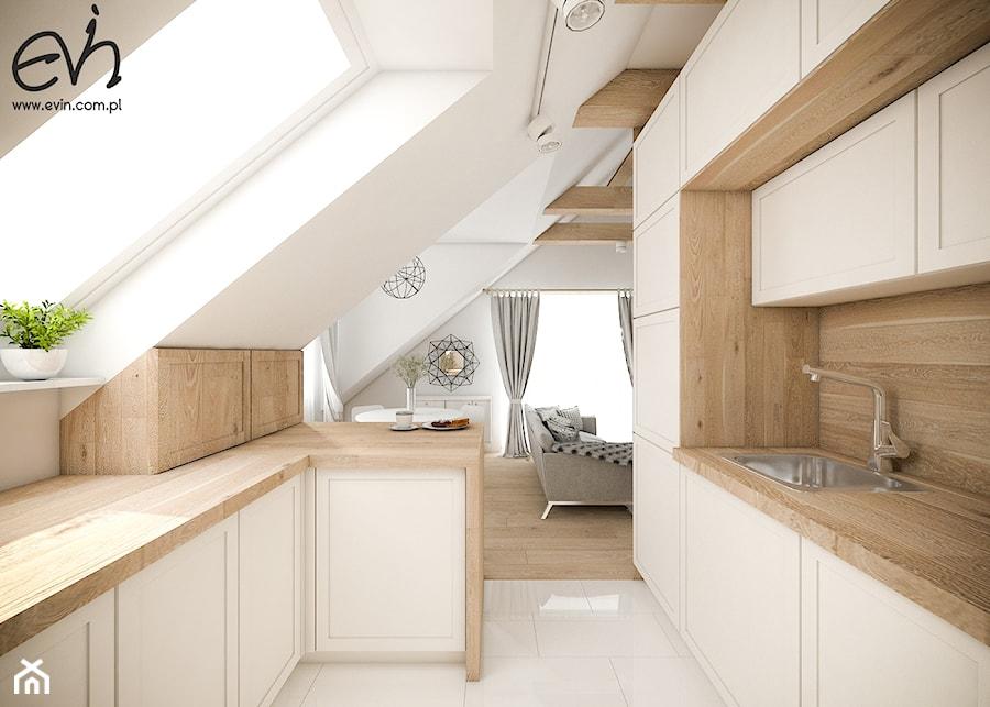 Salon z kuchnią na poddaszu  Średnia otwarta kuchnia w kształcie litery g z