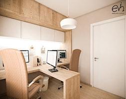 Gabinet - Średnie beżowe biuro domowe w pokoju, styl nowoczesny - zdjęcie od Evin