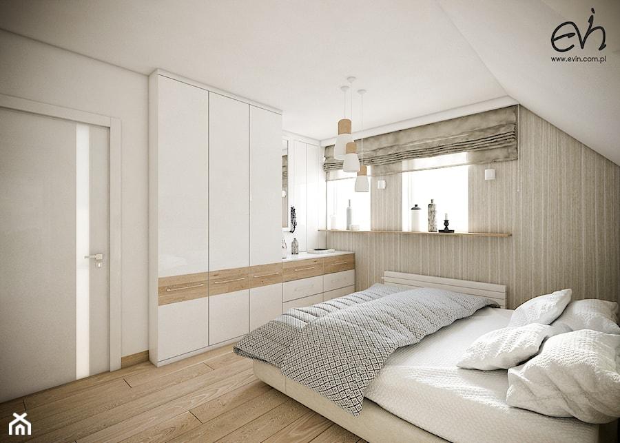 Aranżacje wnętrz - Sypialnia: Przytulna sypialnia na poddaszu - Mała średnia sypialnia małżeńska na poddaszu, styl nowoczesny - Evin. Przeglądaj, dodawaj i zapisuj najlepsze zdjęcia, pomysły i inspiracje designerskie. W bazie mamy już prawie milion fotografii!
