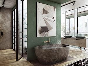 Wrocław - Oporów - Duża zielona łazienka w domu jednorodzinnym jako salon kąpielowy jako domowe spa z oknem, styl nowoczesny - zdjęcie od razoo-architekci