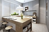 beżowe płytki podłogowe, szare meble kuchenne, drewniany blat kuchenny, biała lampa wisząca