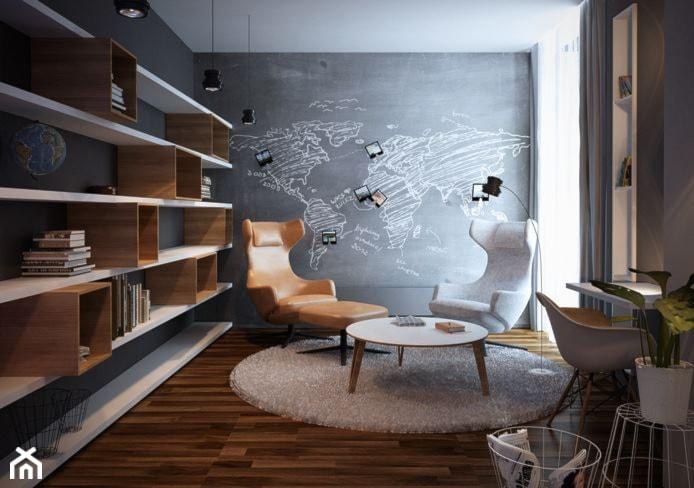 Aranżacje wnętrz - Biuro: Suchy Las - Średnie szare biuro kącik do pracy w pokoju - razoo-architekci. Przeglądaj, dodawaj i zapisuj najlepsze zdjęcia, pomysły i inspiracje designerskie. W bazie mamy już prawie milion fotografii!