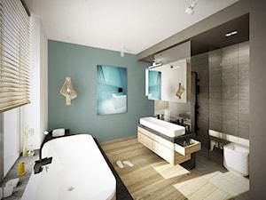 Wrocław-willa Biskupin - Średnia biała niebieska szara łazienka w domu jednorodzinnym z oknem - zdjęcie od razoo-architekci
