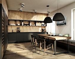 Warszawa - Anin - Duża otwarta biała kuchnia w kształcie litery u, styl nowoczesny - zdjęcie od razoo-architekci