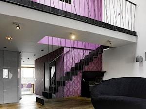 Średnie wąskie schody jednobiegowe metalowe, styl nowoczesny - zdjęcie od razoo-architekci