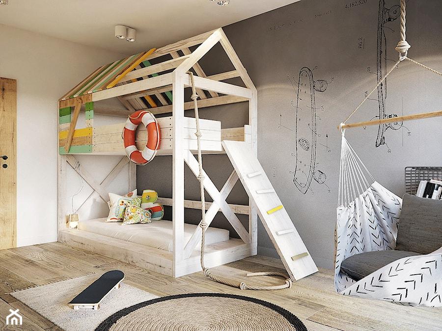 Bielsko - Biała - Średni biały szary pokój dziecka dla chłopca dla rodzeństwa dla malucha - zdjęcie od razoo-architekci