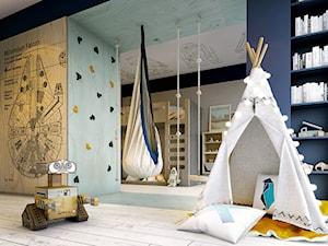 Poznań - Mosina - Średni szary niebieski pokój dziecka dla chłopca dla malucha, styl nowoczesny - zdjęcie od razoo-architekci