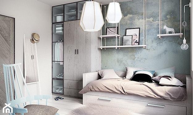 fototapeta z niebem w pokoju dziecka, szare meble, białe lampy wiszące, szara rama łóżka, niebieskie krzesło