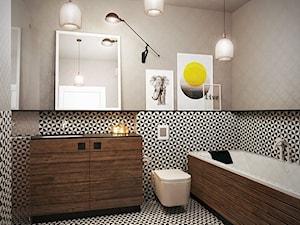 Warszawa - Praga - Średnia biała czarna szara łazienka w bloku bez okna, styl skandynawski - zdjęcie od razoo-architekci