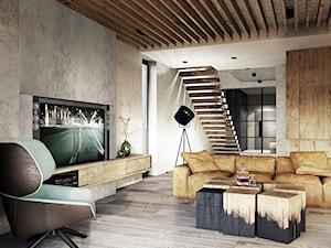 Bielsko - Biała - Średni szary salon z antresolą, styl nowoczesny - zdjęcie od razoo-architekci