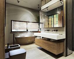 Poznań - Mosina - Średnia beżowa szara łazienka w domu jednorodzinnym z oknem, styl nowoczesny - zdjęcie od razoo-architekci