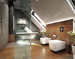 Mokronos - Duża beżowa szara łazienka na poddaszu, styl nowoczesny - zdjęcie od razoo-architekci