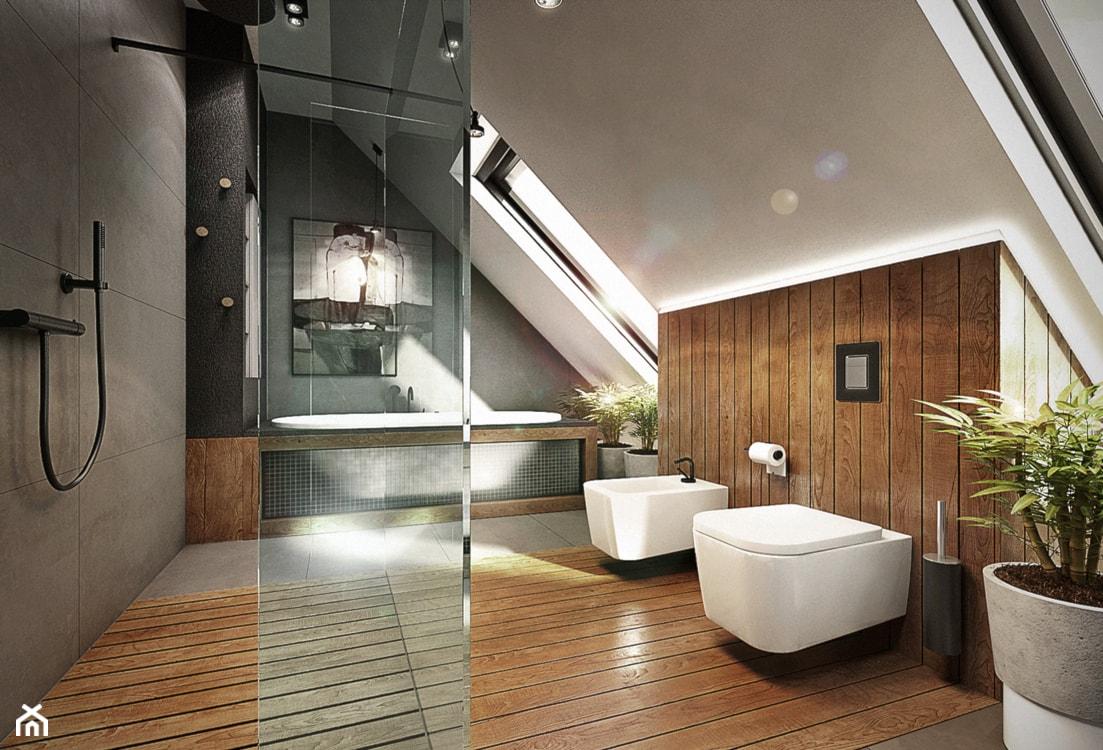 Mokronos - Duża beżowa szara łazienka na poddaszu, styl nowoczesny - zdjęcie od razoo-architekci - Homebook