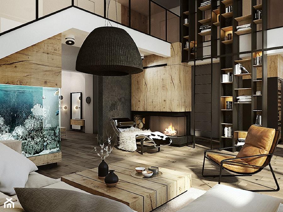 Warszawa - Anin - Duży beżowy czarny salon z bibiloteczką, styl nowoczesny - zdjęcie od razoo-architekci