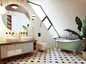 Wrocław - Oporów - Średnia łazienka na poddaszu w domu jednorodzinnym z oknem, styl nowoczesny - zdjęcie od razoo-architekci