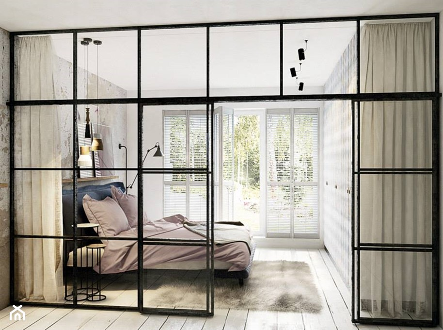 Drzwi wewn trzne z metalu i szk a 5 pomys w na for Mur en verre interieur
