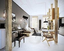 Wrocław - Śródmieście - Średni szary biały salon z kuchnią z jadalnią z tarasem / balkonem - zdjęcie od razoo-architekci