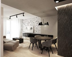 Wrocław - Gądów - Mały szary biały salon z jadalnią z tarasem / balkonem, styl nowoczesny - zdjęcie od razoo-architekci