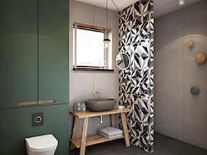 Warszawa - Sadyba - Średnia szara zielona łazienka z oknem, styl eklektyczny - zdjęcie od razoo-architekci