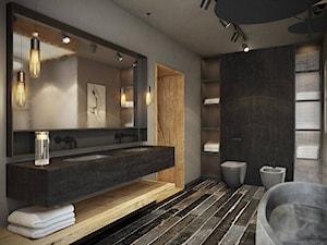 Wrocław - Sołtysowice - Duża czarna szara łazienka w bloku bez okna, styl industrialny - zdjęcie od razoo-architekci