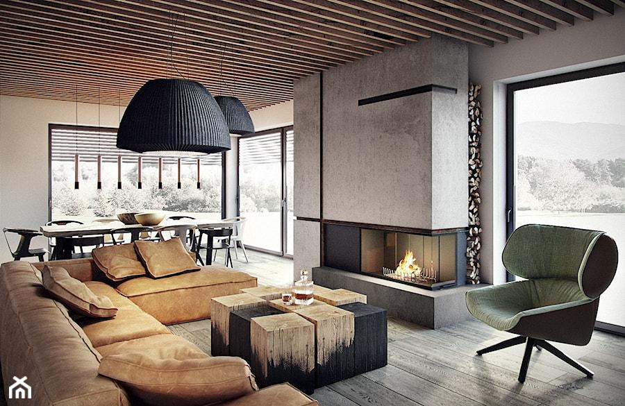 Bielsko - Biała - Duży szary biały salon z jadalnią z tarasem / balkonem, styl nowoczesny - zdjęcie od razoo-architekci