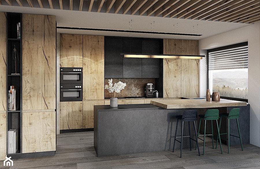 Bielsko - Biała - Duża otwarta biała kuchnia w kształcie litery u z wyspą, styl nowoczesny - zdjęcie od razoo-architekci