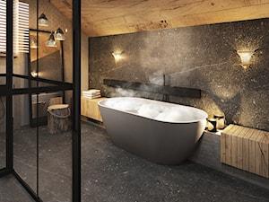 Bielsko - Biała - Duża szara łazienka na poddaszu, styl nowoczesny - zdjęcie od razoo-architekci