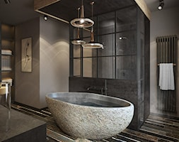 Wrocław - Sołtysowice - Duża beżowa szara łazienka w domu jednorodzinnym, styl industrialny - zdjęcie od razoo-architekci