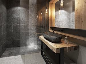Bielsko - Biała - Duża czarna brązowa łazienka, styl nowoczesny - zdjęcie od razoo-architekci