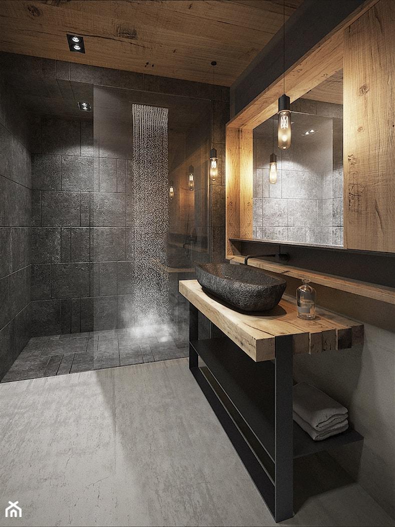 Bielsko - Biała - Duża czarna brązowa łazienka, styl nowoczesny - zdjęcie od razoo-architekci - Homebook
